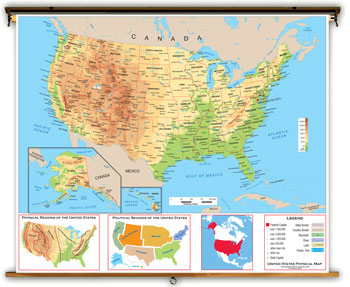 Us And Canada Physical Features Map - Us physical features map labeled