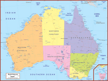 Australia Maps Academia Maps - Political map of australia