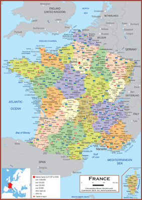 Map Of France With Key.France Maps Academia Maps
