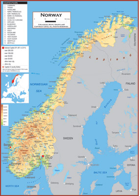 Norway Maps Academia Maps - Norway topographic map