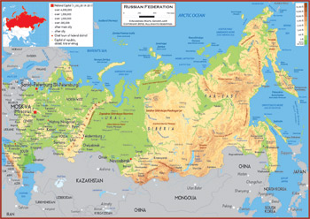 Russian Federation Maps Academia Maps - Physical map of russia