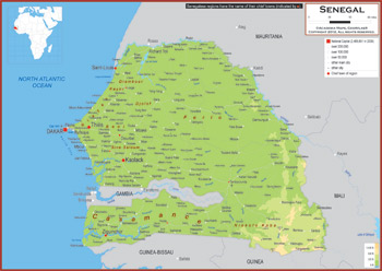 Senegal maps academia maps physical map key features gumiabroncs Choice Image