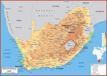 south africa map physical features