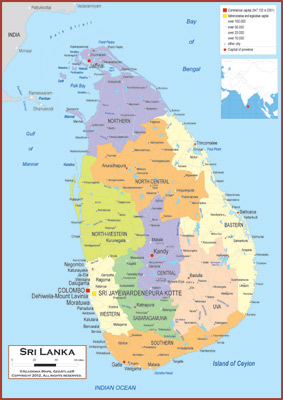 Sri Lanka Political Map.Sri Lanka Maps Academia Maps