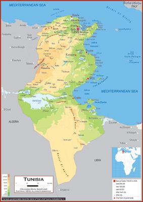 Tunisia Maps Academia Maps - Physical tunisia map