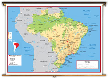 Brazil Maps Academia Maps - Brazil map physical